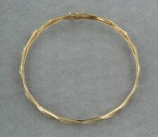 14k Yellow Gold Bangle Wave and Starburst Pattern 8 inch bracelet. Hollow. Gift