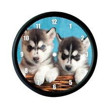 Siberian Husky Cuccioli foto Orologio da parete-cane Animale Pet Amante Regalo