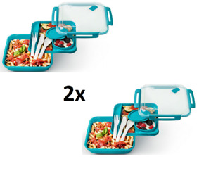 2x Rotho Lunch-Box Vesper-Dose Brotdose Picknick-Behälter Mittagessen BPA-frei