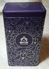 "Purple Teavana Empty Tea Tin Lotus Floral Rectangle 6.25 x 3.5 x 2.5"" Appx"