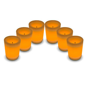 6 x 4 Inch LED Flameless Battery Operated Real Wax and Wick Flickering Candles