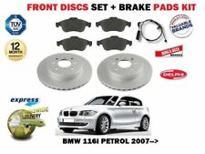 FOR BMW 1 SERIES 116i 118i 2007-> FRONT BRAKE DISCS & PADS SET + PADS SENSOR KIT