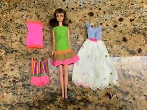 """11"""" Mattel Barbie cousin brunette BL Francie w/clothing lot"""