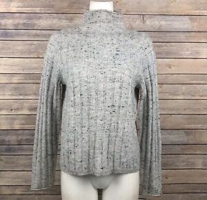 Madewell Donegal Evercrest Turtleneck Sweater Heather Gray Wool Blend Ribbed NEW