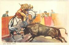 Barcelona Spain Bull Fighting Una Buena Vara Sports Postcard (c. 1940s)