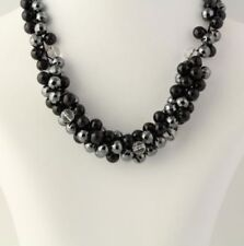 New Chunky Beaded Necklace - Stainless Steel Onyx Hematite Gray Black