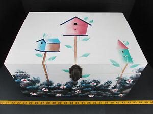 "Wooden Chest Bird House Flower Hinges Spring Latch 17 3/4"" x 12 1/2"" x 9 1/2"" GS"