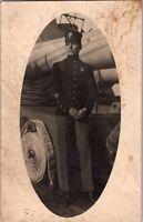 OLD VINTAGE REAL PHOTO POSTCARD Man in  UNIFORM