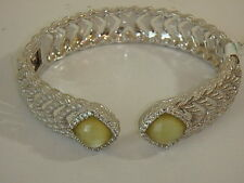 JUDITH RIPKA STERLING DIAMONIQUE DOUBLET HINGED CUFF BRACELET LARGE 8 NEW