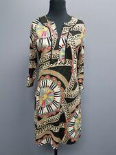 JOY JOY Black Beige Red Geometric Print 3/4 Sleeve YNeck Shift Dress Sz S DD8584