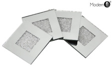 4 Mirrored Coasters with Scattered Crushed Crystal Centre, crushed diamond