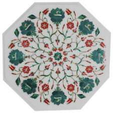 """21""""x21"""" Table Top Handmade White Marble Inlay Home Decor"""