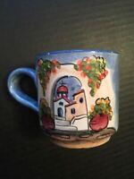 "Eva Coffee Mug Greece Hand Painted Pottery Cup 3.5""x3.5"" Countryside Church Blue"