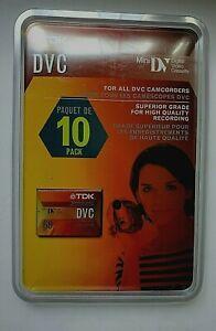 TDK DVC 60 Minute Digital Video Mini DV Cassette Tape 10 Pack DVM60ME New