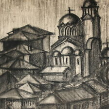 Antique charcoal drawing cityscape church