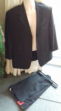 """BNWT black suit pinstripe trousers 34""""S, jacket ch.40""""S VERY FAST POST (55)"""