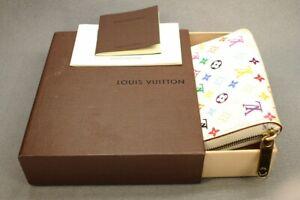 Auth Louis Vuitton Monogram Multicolor Zippy Coin Purse White M93741