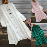 ZANZEA Women Vintage Cotton Irregular Hem Dress Buttons Asymmetric Shirt Dresses