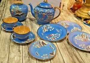 10 Piece China Set Blue Hand Painted Japan Dish Set, Cups, Saucer, Tea Pot, ETC.