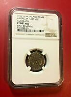 1908 NEWZEALAND SILVER AMERICAN FLEET VISIT AUCKLAND NGC VF DETAILS SPOT REMOVAL