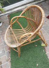 Fauteuil enfant osier Chaise rotin VINTAGE 1960-70 Salon de jardin 43 P50 H55 cm