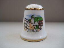 Vintage decorative porcelain thimble, Gruss aus Westendorf