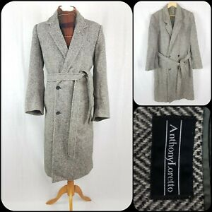 """Vintage Anthony Loretto Overcoat 40"""" Chest Double Breasted Wool Rich Herringbone"""