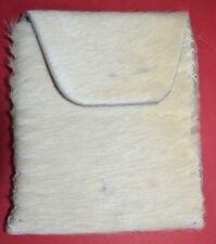 Handmade Leather Hide Medicine Bag With White Fur & Fold Top Flap Cedar Pouch