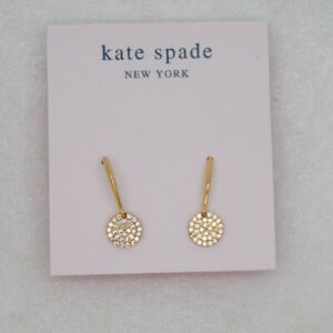 Kate spade jewelry CZ Cut crystals drop hoop dangle cute earring 18k gold plated