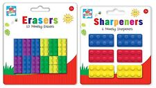 Kids Create - 18 Novelty Lego Rubber Erasers + 6  Brick Style Sharpeners