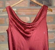 Talbots Silk Dusty Rose Beaded Cowl Neck Long Dress Evening Gown Formal NWOT 8