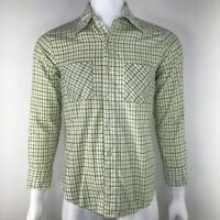 Vintage Fruit Of The Loom Mens Medium Shirt Flannel Soft Touch Sanforized Green