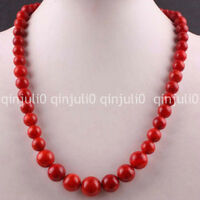 "6-14MM Red Coral Round Beads Necklace Gemstone Strand 18"" JN1150"