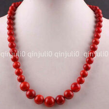 """6-14MM Red Coral Round Beads Necklace Gemstone Strand 18"""" JN1150"""