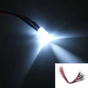 10X White Car Pre wired 5mm 12V LED Light Lamp Bulb 20cm Prewired Accessories S