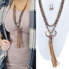 Western Copper Longhorn Steer Navajo Pearl Bead Leather Tassel Necklace Earring