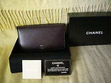 Beautiful brand new Box  leather Chanel  wallet Prune color  ~ silver hardware