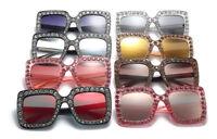 2018 Oversized Square Frame Bling Rhinestone Sunglasses Women Fashion Shades