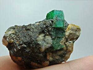 131 CT Translucent Top Green Emerald Crystal on matrix @ Panjshir Afghanistan