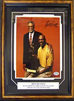 Bill Russell & Michael Jordan Autographed / Signed Framed 8x10 Photo