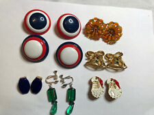 Patriotic Christmas Clip On Earrings Mid Centry Lot Of 7 Colorful