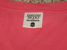 Womens XL JADELYNN BROOKE V-NECK T-SHIRT Deerly Southern Attire CORAL Salmon NEW