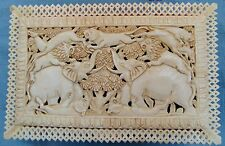 RARE CARVED HANDMADE CAMEL BONE INLAID JALI JEWELRY TRINKET BOX COLLECTIBLE ART