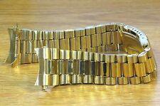 20mm Curved President Style Gold Tone Stainless Metal Watch Band Bracelet