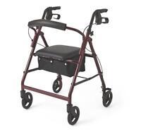 """Medline Basic Aluminum Rollator with 6"""" Wheels, Burgundy"""