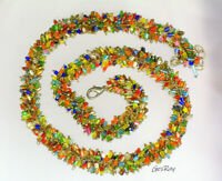 Vintage Multi Colors Cha Cha Necklace, Glass Seed Bead Necklace Multicolor