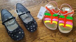 Toddler Girls 2 Pairs Black w Stars Mary Jane & Multicolor Sandal Size 10 NWT