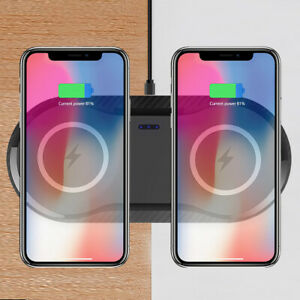 Qi Wireless Charger Dual Phone Charging Mat Pad For i Phone 11 XS Samsung S10 S9