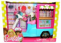 Mattel Barbie Scooter with bistro car FHR08 colorful snack Foodtruck children