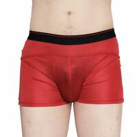 Pure Silk Knit Mens Boxers Trunks Pants Bulge Pouch Briefs Shorts Silk Underwear